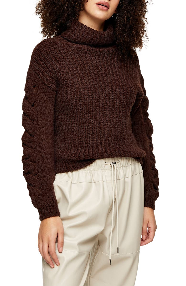TOPSHOP Cable Knit Sleeve Turtleneck Sweater, Main, color, DARK BROWN