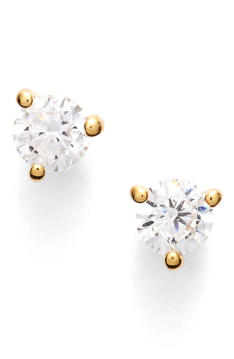 NORDSTROM Precious Metal Plated .25ct tw Cubic Zirconia Stud Earrings, Main, color, GOLD