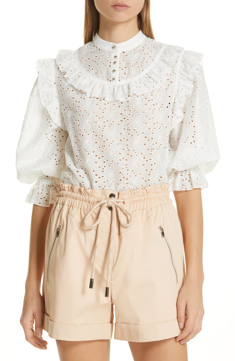 ROBERT RODRIGUEZ Scarlett Eyelet Embroidered Top, Main, color, 100