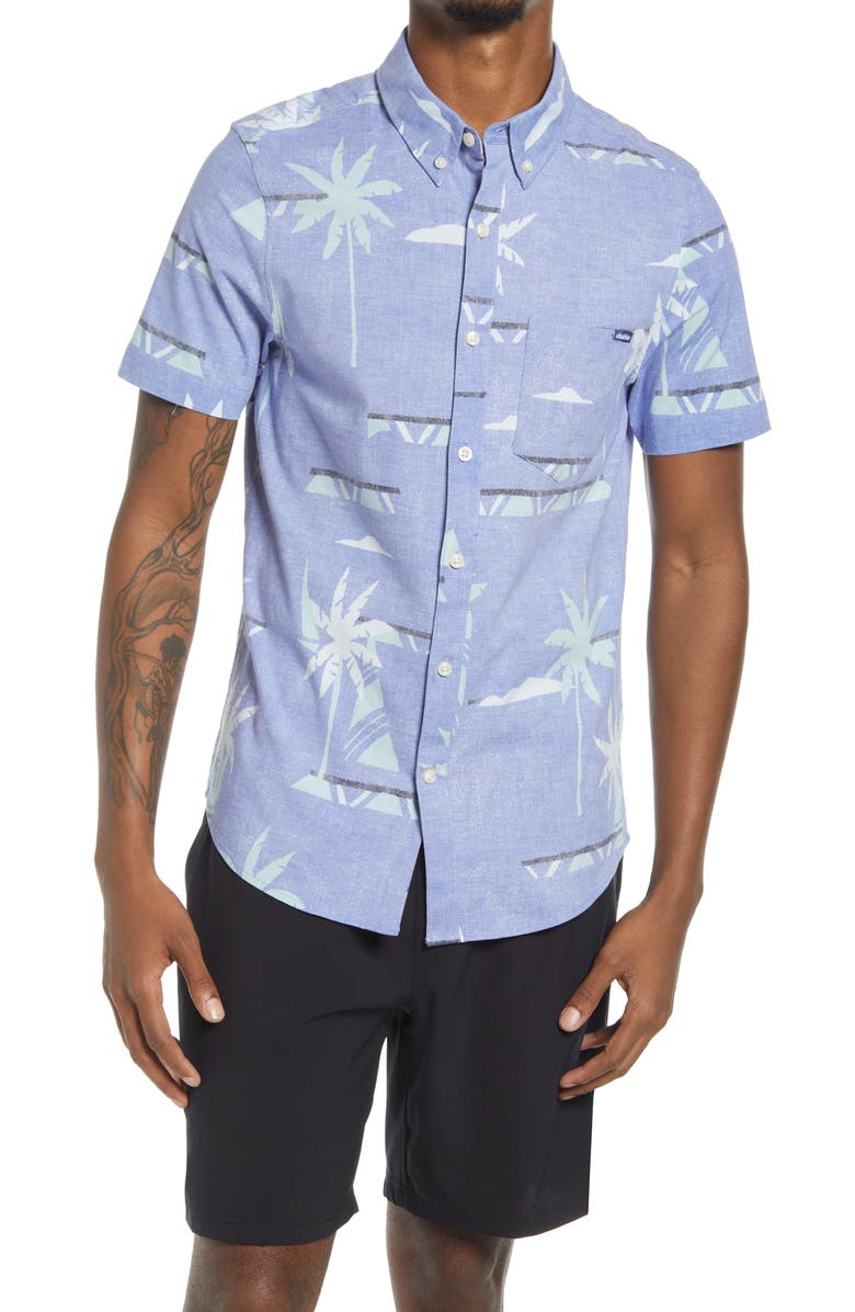 CHUBBIES The Brewster Short Sleeve Stretch Button-Down Shirt, Main, color, BRIGHT PURPLE