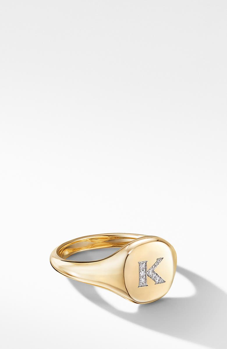 DAVID YURMAN Initial Pinky Ring in 18K Yellow Gold with Diamonds, Main, color, DIAMOND-K