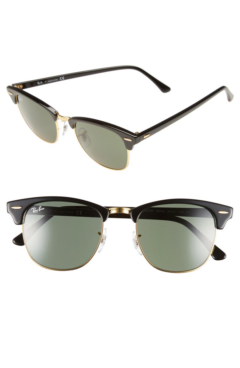 RAY-BAN Classic Clubmaster 51mm Sunglasses, Main, color, 001