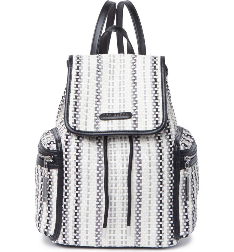 TED BAKER LONDON Alizza Woven Drawstring Backpack, Main, color, BLACK