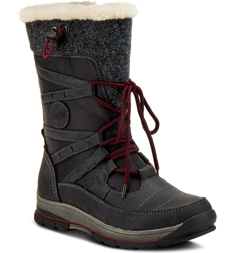 SPRING STEP Brurr Faux Fur Lined Waterproof Snow Boot, Main, color, BLACK