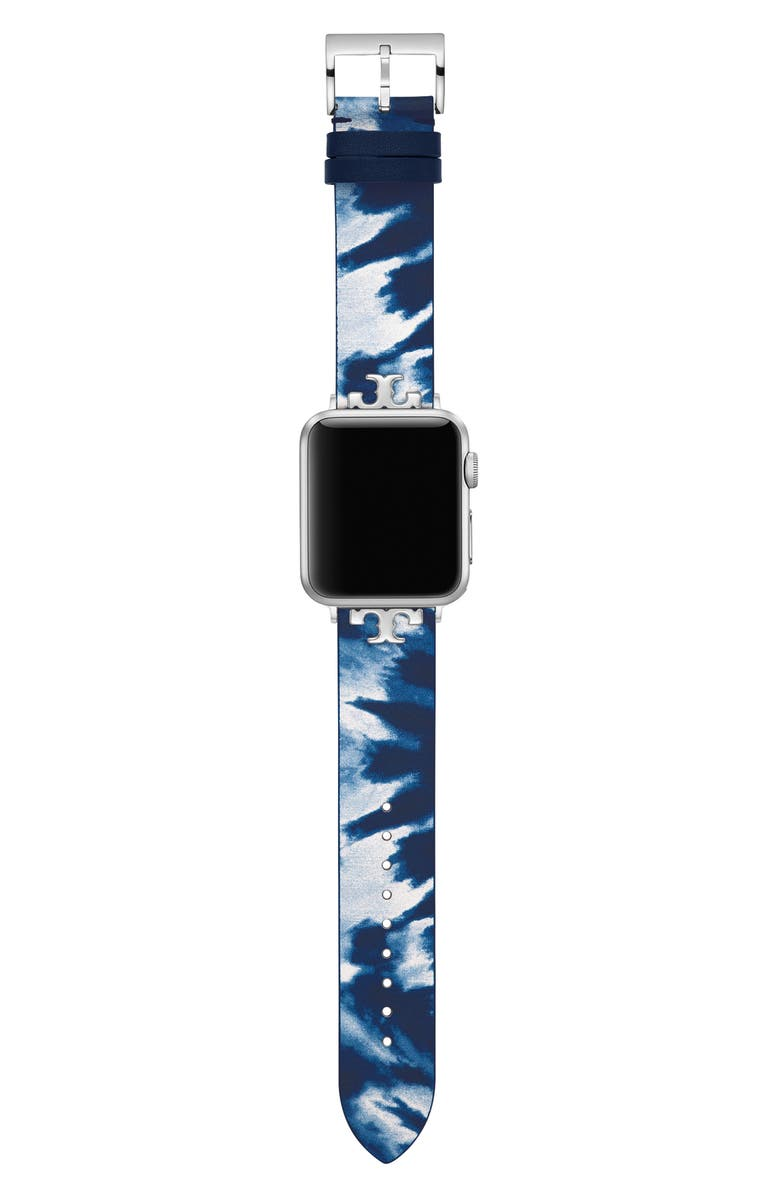 TORY BURCH The Tie Dye Leather Strap for Apple<sup>®</sup> Watch, 38mm/40mm, Main, color, Blue
