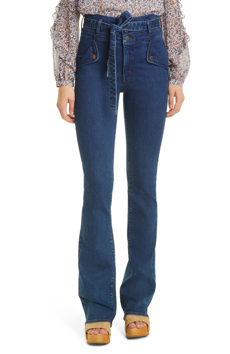 VERONICA BEARD Giselle High Waist Slim Flare Jeans, Main, color, WASHED OXFORD