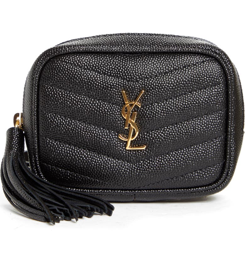 SAINT LAURENT Baby Lou Quilted Leather Micro Crossbody Bag, Main, color, 001
