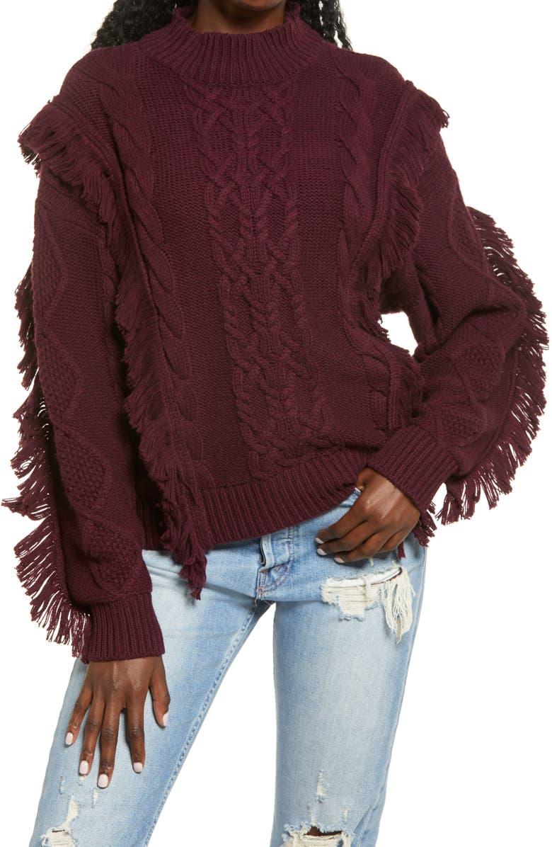 LEITH Cable Knit Fringe Sweater, Main, color, BURGUNDY STEM