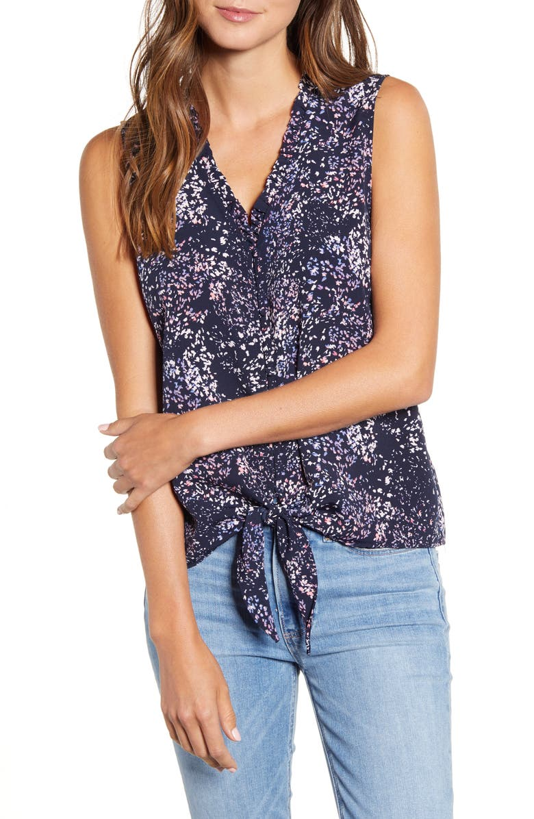 BOBEAU Gabrielle Print Tie Front Top, Main, color, 466