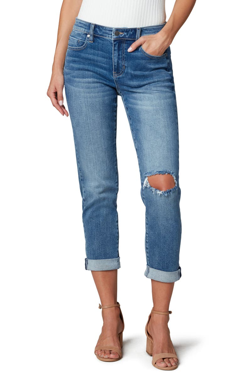 LIVERPOOL LOS ANGELES Ripped Cuffed High Waist Girlfriend Jeans, Main, color, ERIN