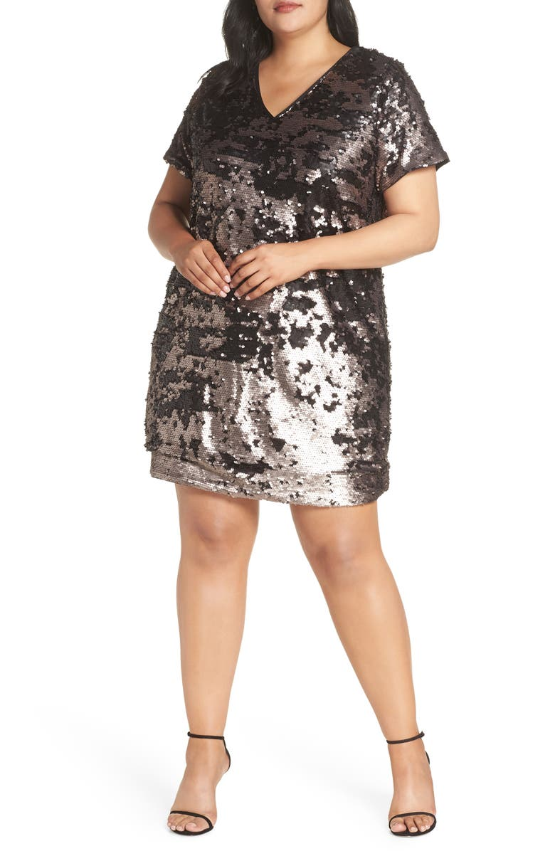 1.STATE Sequin Shift Dress, Main, color, LUSTER NUDE