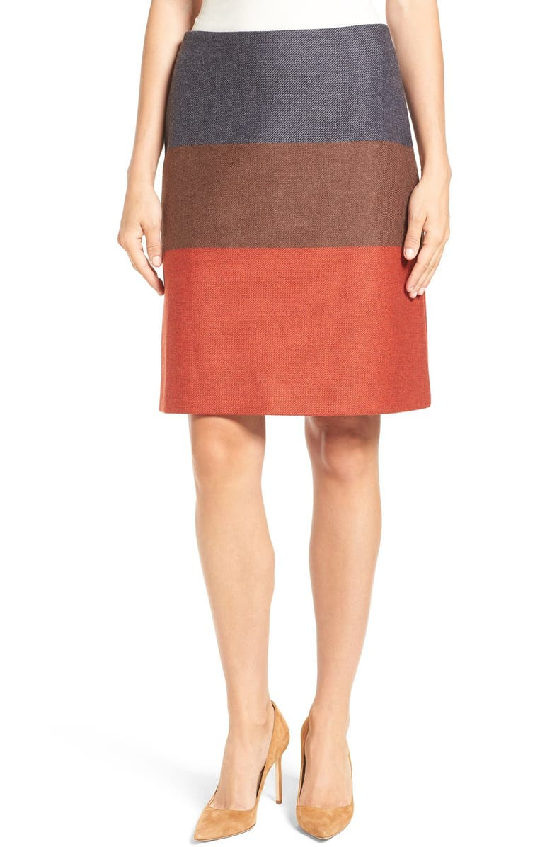 BOSS 'Malivi' Colorblock A-Line Skirt, Main, color, 601