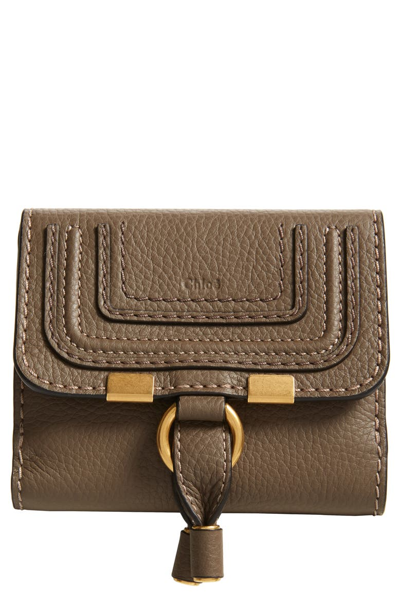 CHLOÉ Marcie Leather French Wallet, Main, color, ARMY GREEN