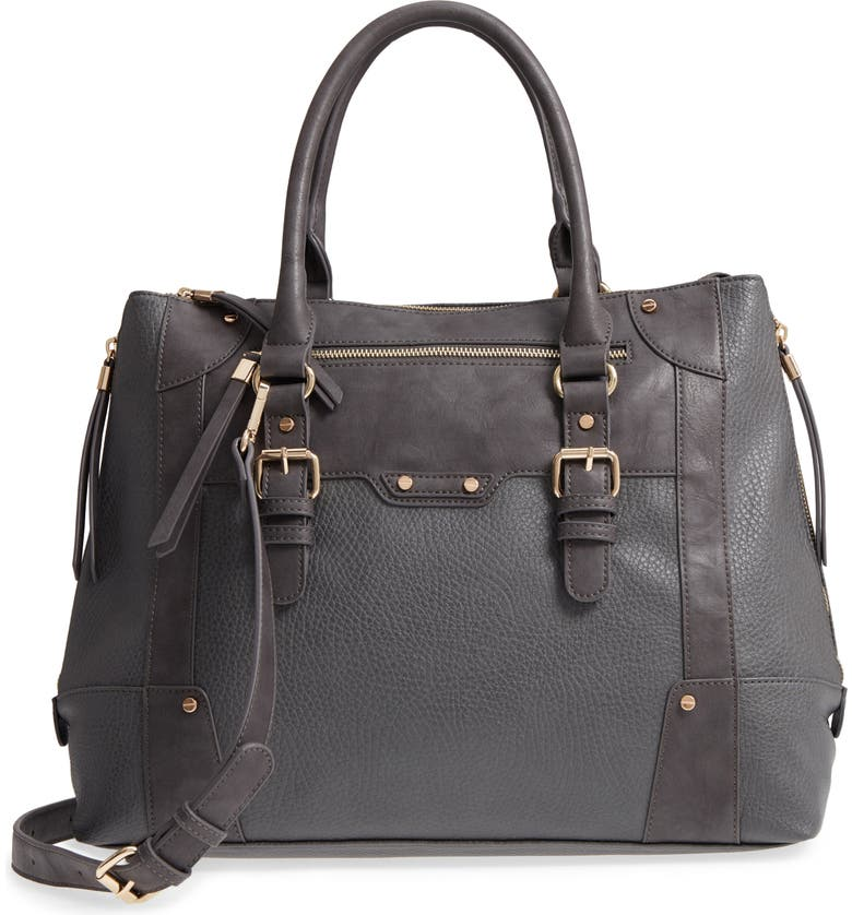 SOLE SOCIETY 'Susan' Winged Faux Leather Tote, Main, color, GREY