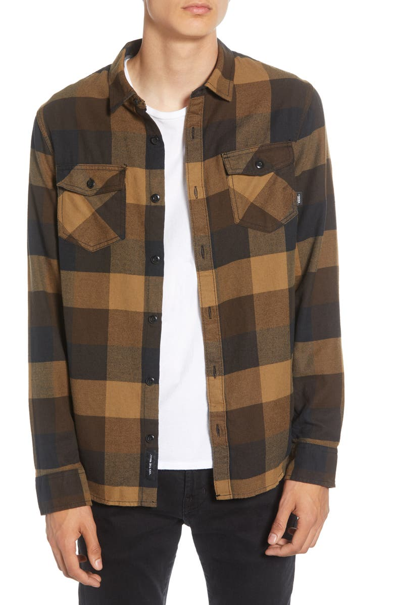 VANS Box Tailored Fit Buffalo Check Button-Up Flannel Shirt, Main, color, 001