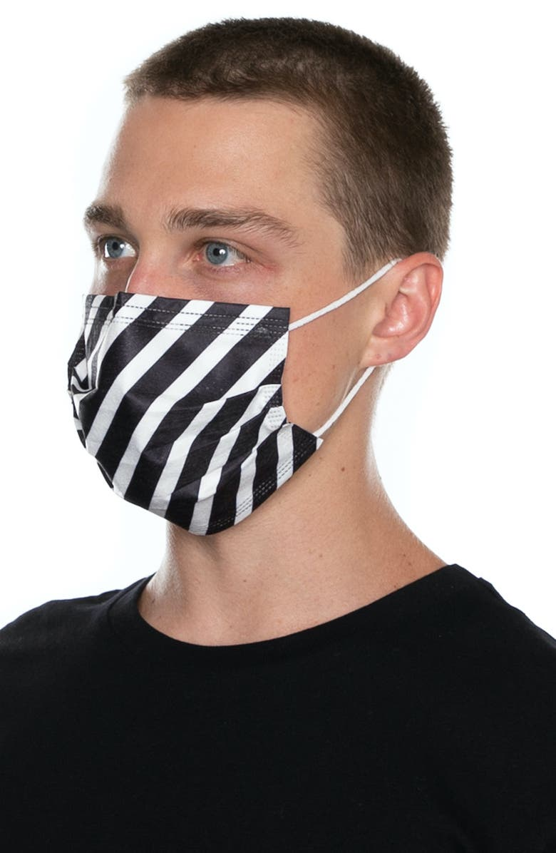 MEDIPOP 5-Pack Adult Disposable Wave Print Pleated Face Masks, Main, color, 001