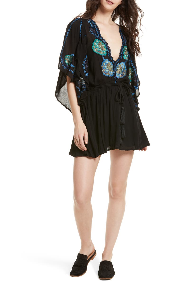 FREE PEOPLE Cora Embroidered Minidress, Main, color, BLACK