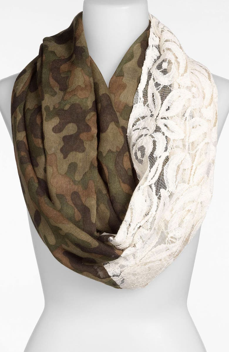 BP. Camo & Lace Circle Scarf, Main, color, 300
