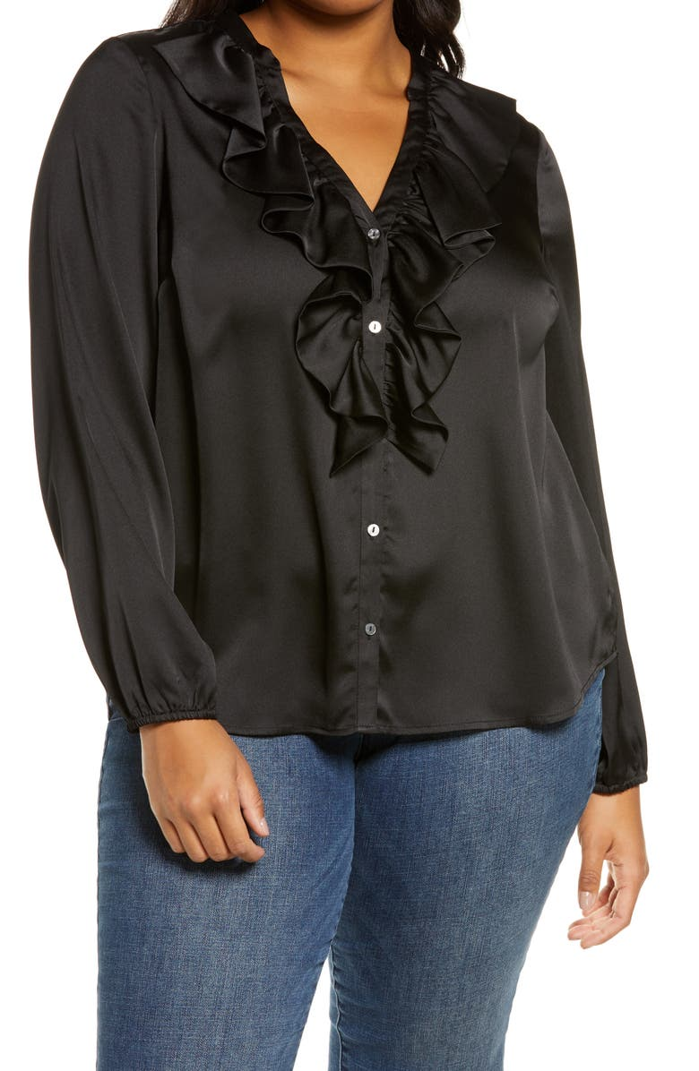 1.STATE Ruffle Neck Button-Front Blouse, Main, color, RICH BLACK