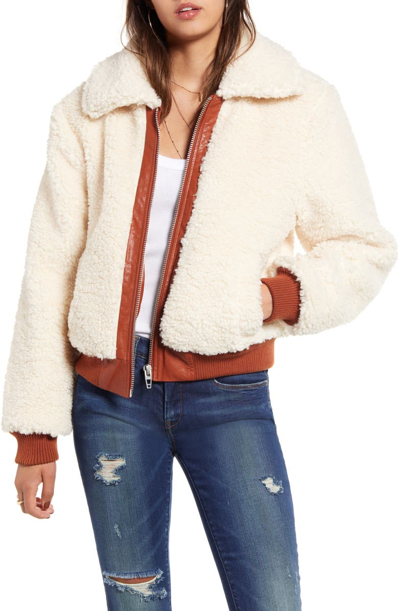 BLANKNYC Faux Shearling Crop Jacket, Main, color, 900