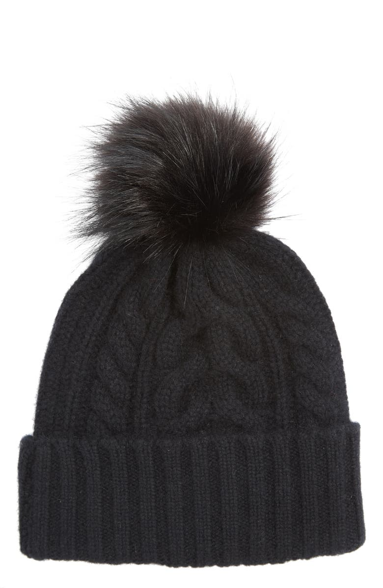 HALOGEN<SUP>®</SUP> Cashmere Cable Knit Beanie with Faux Fur Pom, Main, color, 001