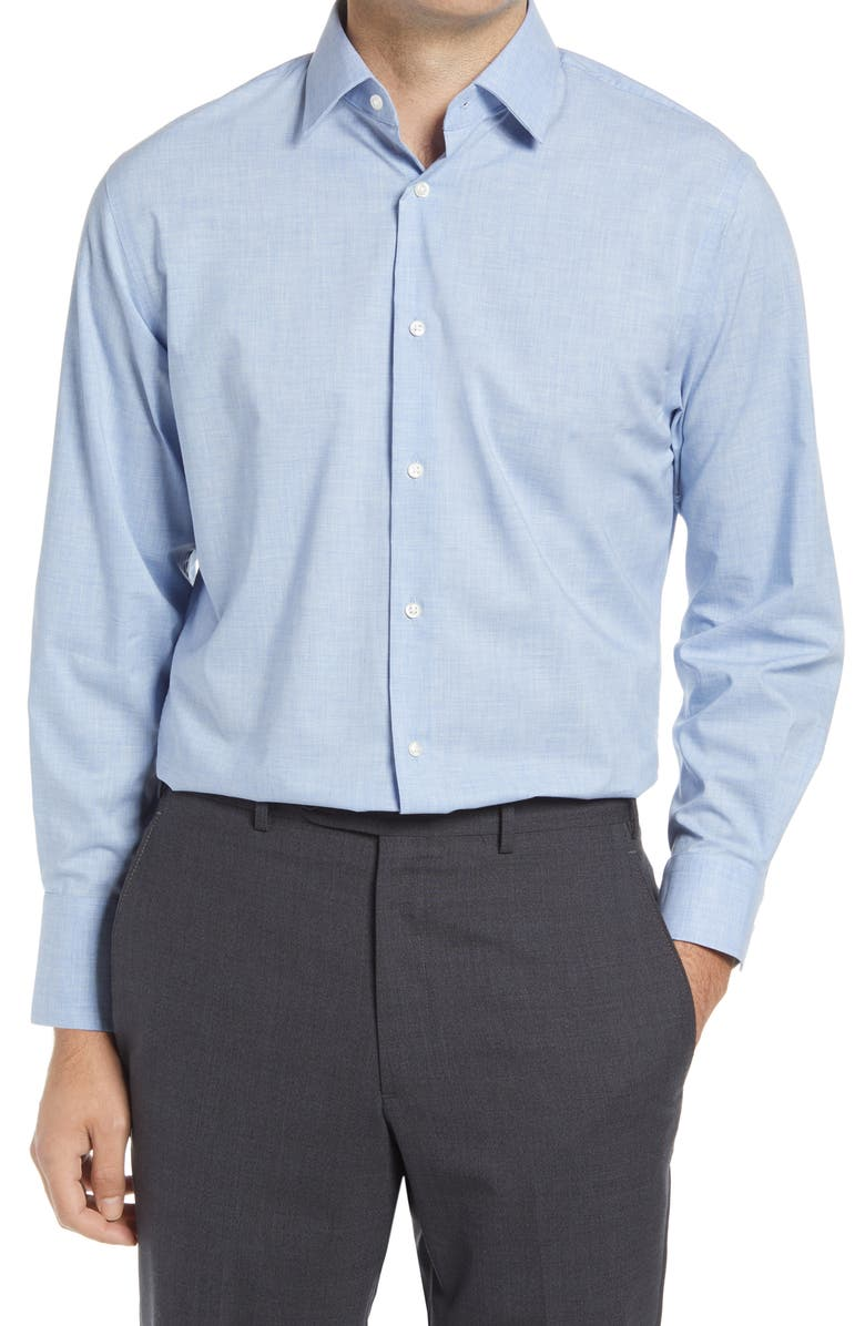 NORDSTROM Traditional Fit Non-Iron Chambray Dress Shirt, Main, color, BLUE CASHMERE
