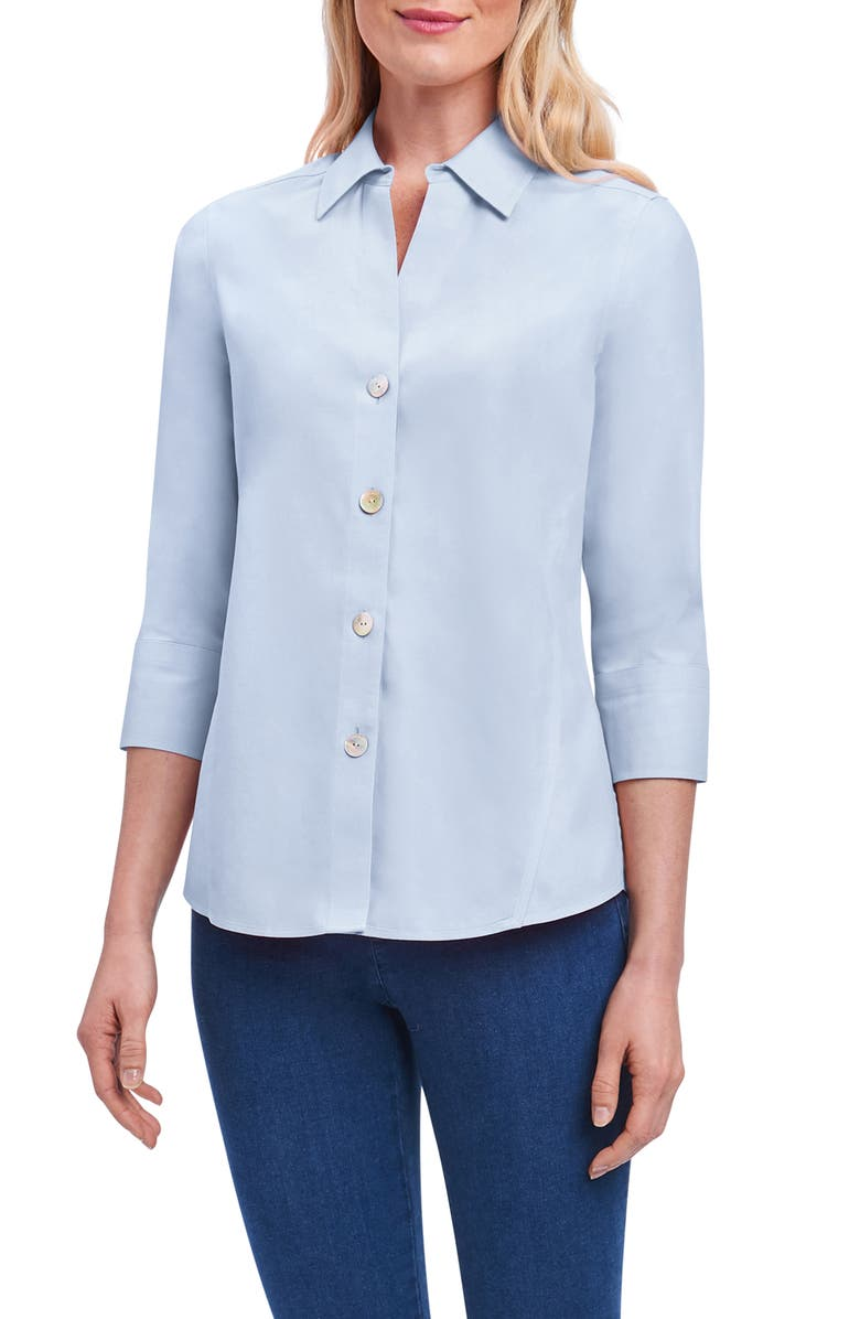 FOXCROFT Paityn Non-Iron Cotton Shirt, Main, color, BLUE WAVE