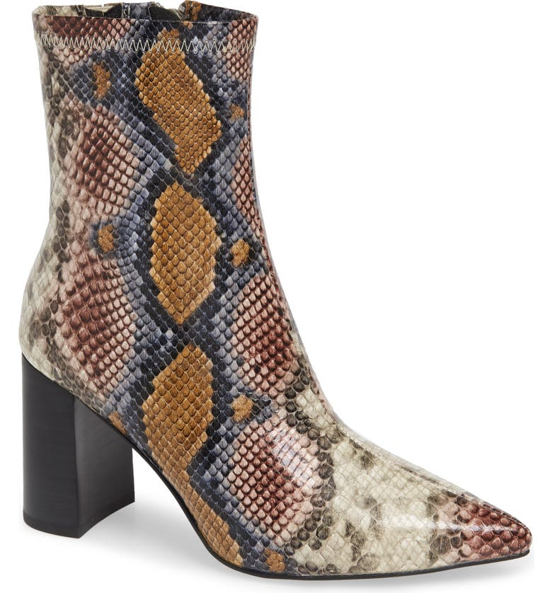 JEFFREY CAMPBELL Coma 3 Block Heel Bootie, Main, color, GREY/ WINE SNAKE PRINT LEATHER