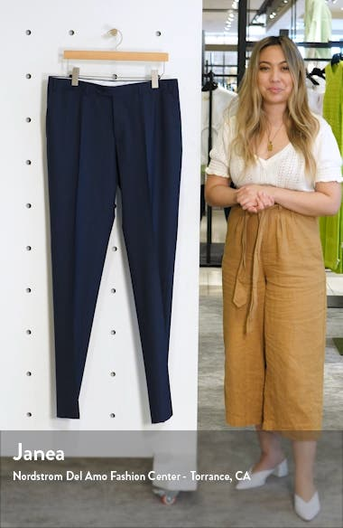 Flat Front Classic Fit Solid Stretch Wool Dress Pants, sales video thumbnail