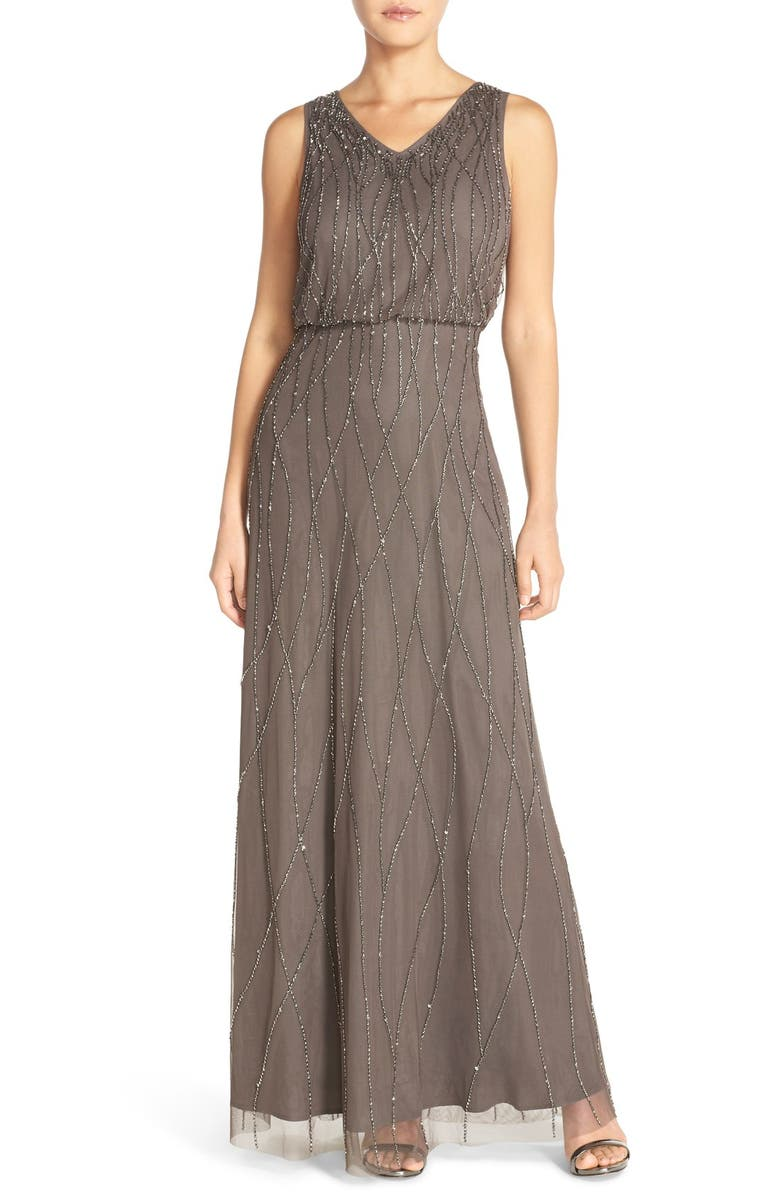 CANDELA 'Antibes' Beaded V-Neck Gown, Main, color, 020
