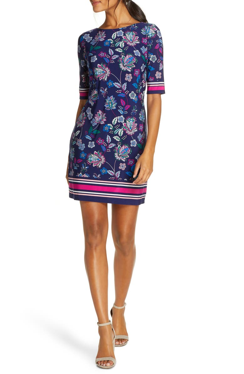 ELIZA J Floral & Stripe Shift Minidress, Main, color, 430
