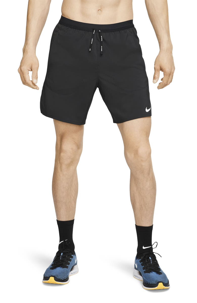 NIKE Flex Stride Performance Athletic Shorts, Main, color, BLACK/ BLACK/ SILVER