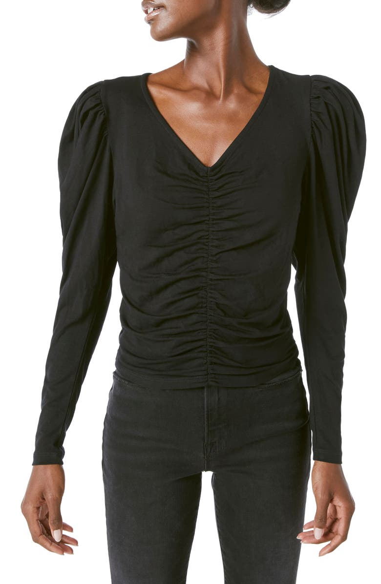 FRAME Agnes Shirred Puff Sleeve Knit Top, Main, color, NOIR