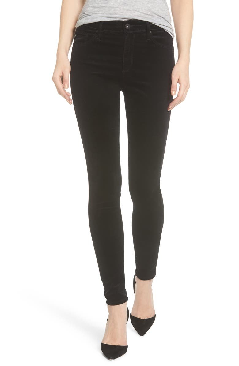 AG The Farrah High Waist Velvet Jeans, Main, color, SUPER BLACK