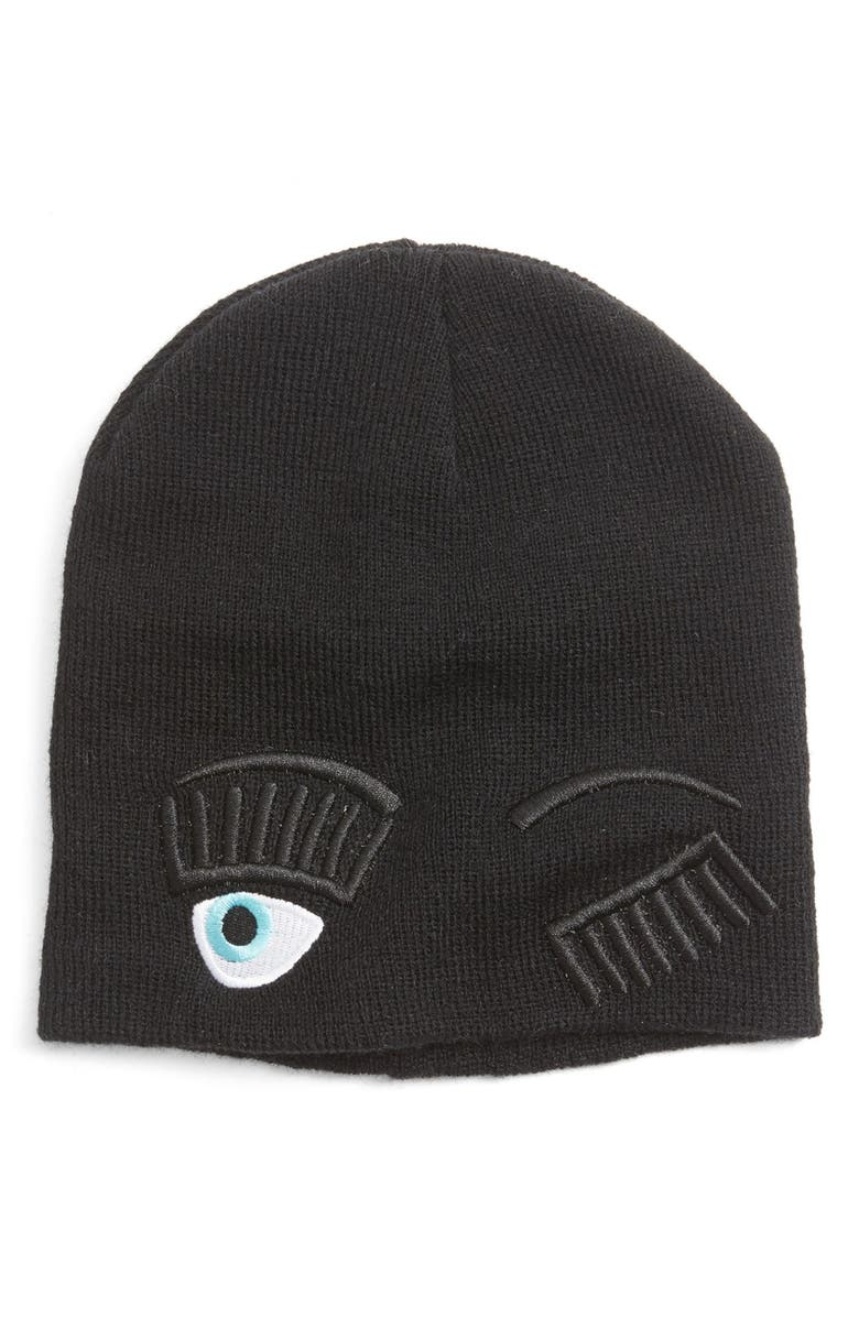 CARA Winking Knit Beanie, Main, color, 001