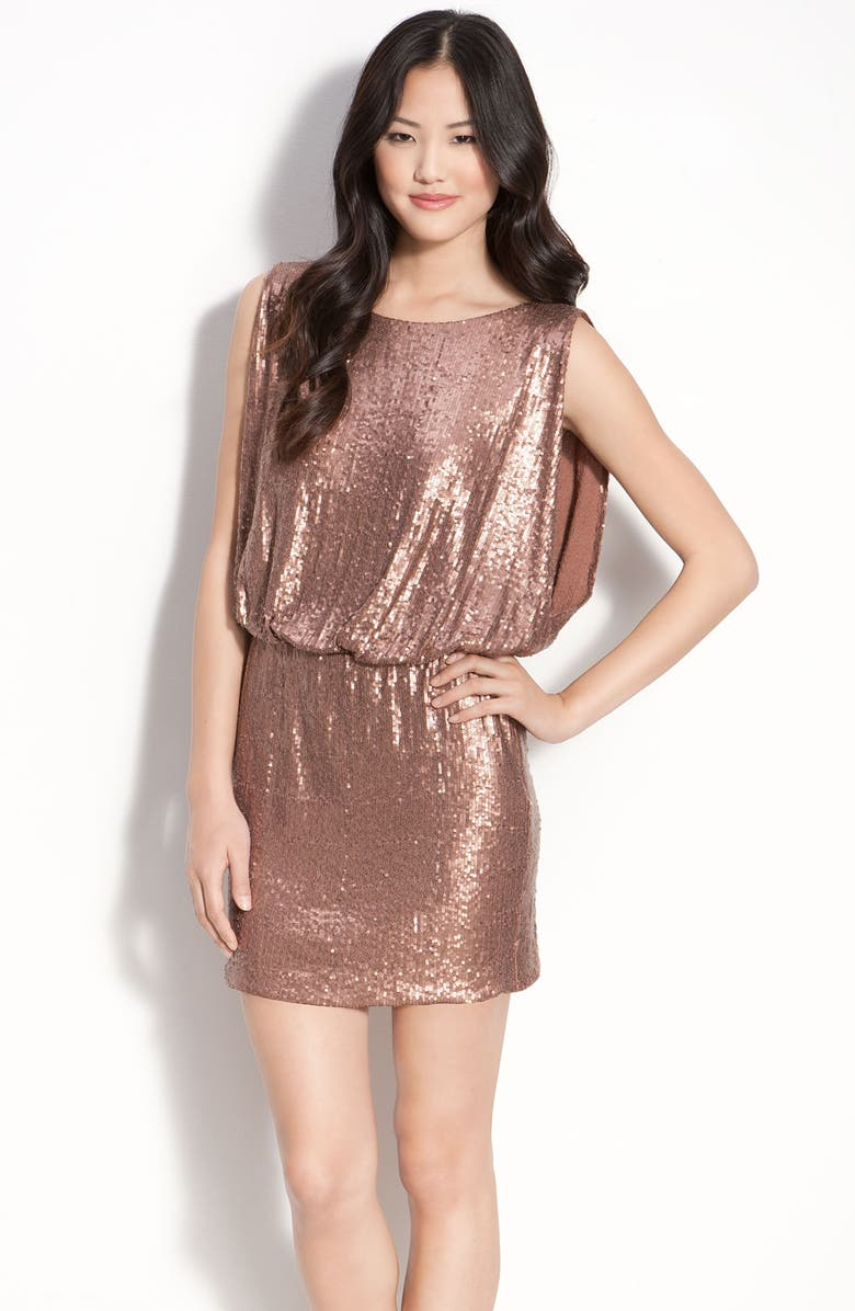 LAUNDRY BY SHELLI SEGAL Bloused Sequin Dress, Main, color, ROSE GOLD