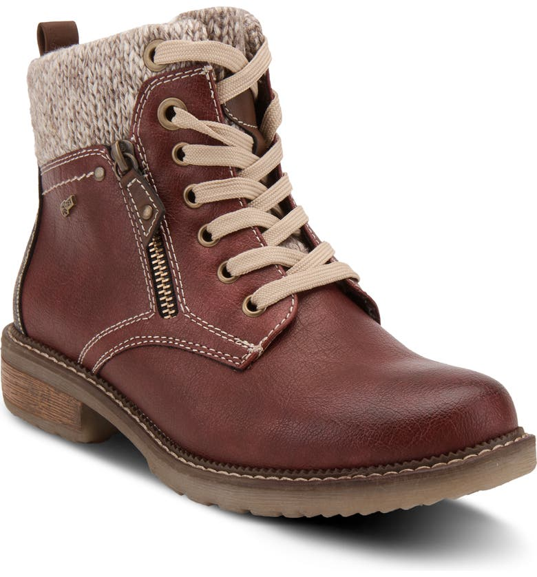 SPRING STEP Khazera Faux Shearling Lined Water Resistant Boot, Main, color, BORDEAUX TEXTILE/ SYNTHETIC