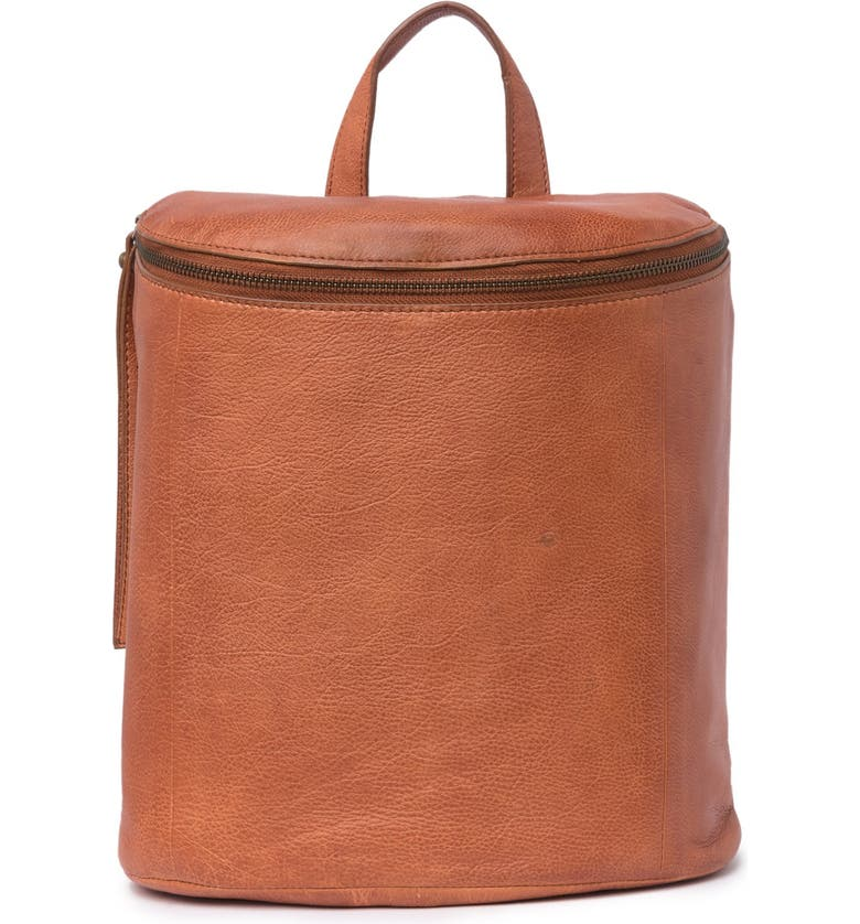 FRYE Maddie Leather Backpack, Main, color, OPEN BROWN