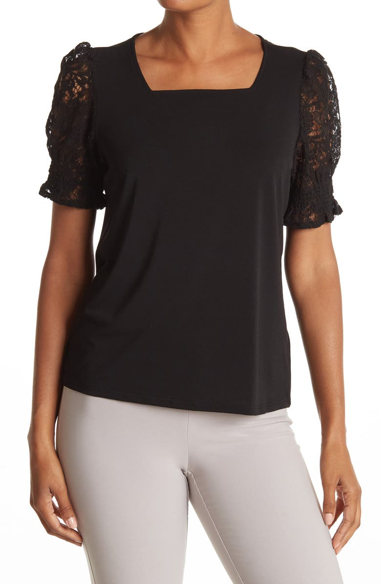 ADRIANNA PAPELL Square Neck Solid Knit Moss Crepe Top, Main, color, BLACK