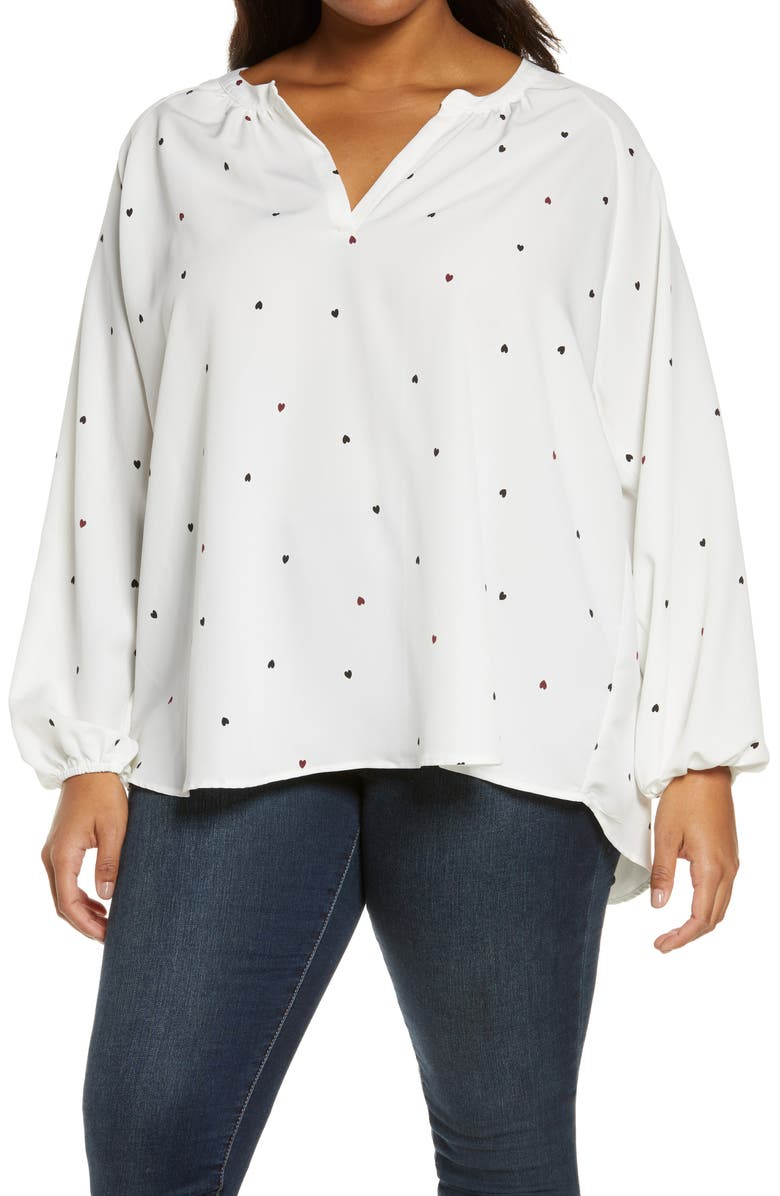 BOBEAU Julius Blouse, Main, color, IVORY POLKA HEART
