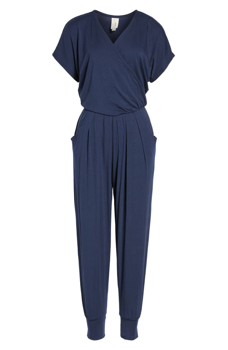 LOVEAPPELLA Short Sleeve Wrap Top Jumpsuit, Main, color, MIDNIGHT BLUE
