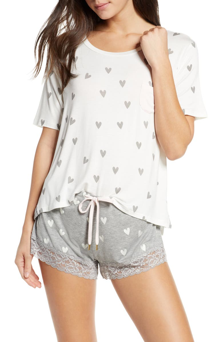HONEYDEW INTIMATES Something Sweet Short Pajamas, Main, color, HEATHER GREY HEARTS