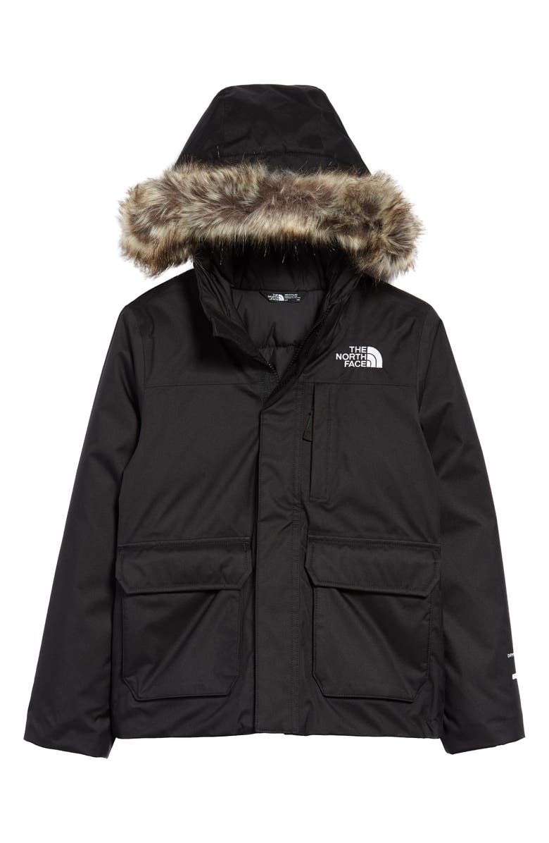 THE NORTH FACE Greenland Waterproof 550-Fill-Power Down Jacket with Faux Fur Trim, Main, color, TNF BLACK