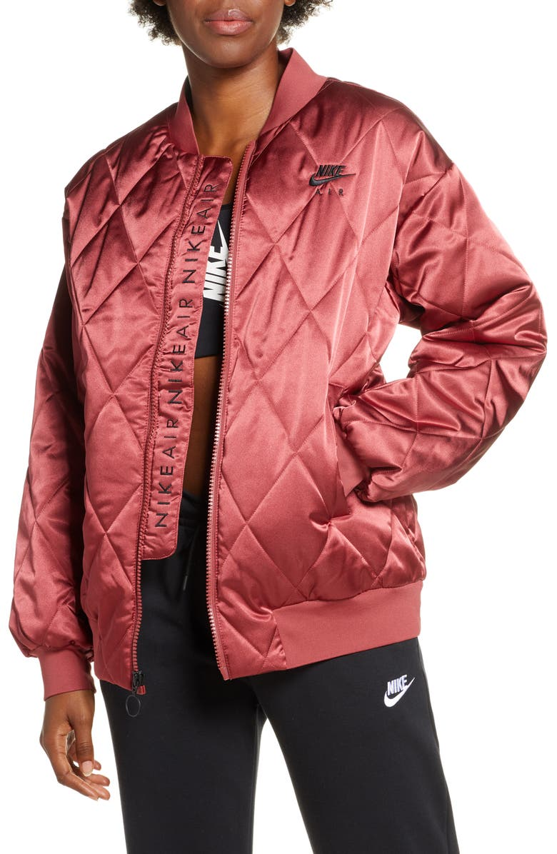 NIKE Logo Diamond Quilted Satin Jacket, Main, color, 600