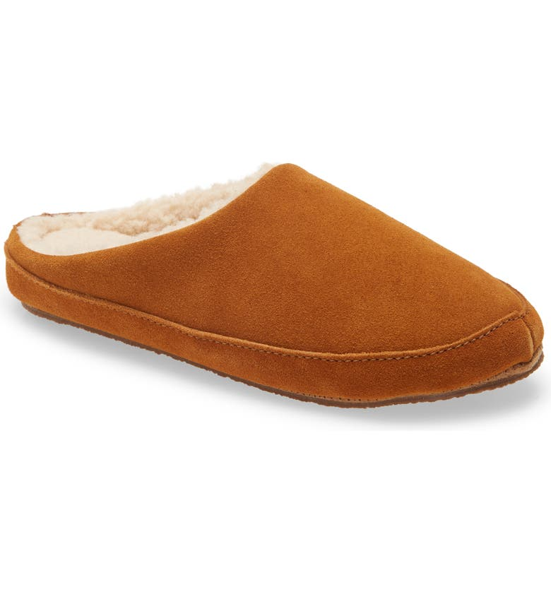 MADEWELL Suede Scuff Slippers, Main, color, GOLDEN PECAN