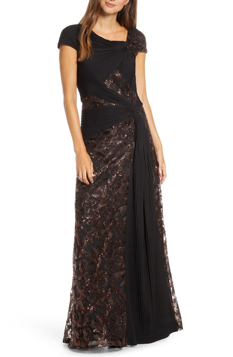 TADASHI SHOJI Pintuck Wrapped Embroidered Lace Gown, Main, color, 247