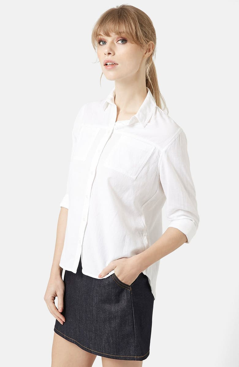 TOPSHOP Button Front Chambray Shirt, Main, color, WHITE