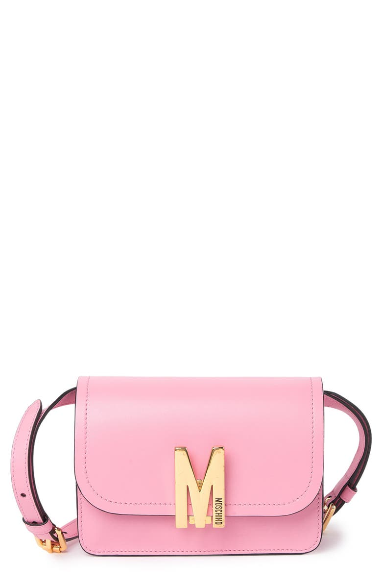 MOSCHINO Leather 'M' Logo Crossbody Bag, Main, color, PINK