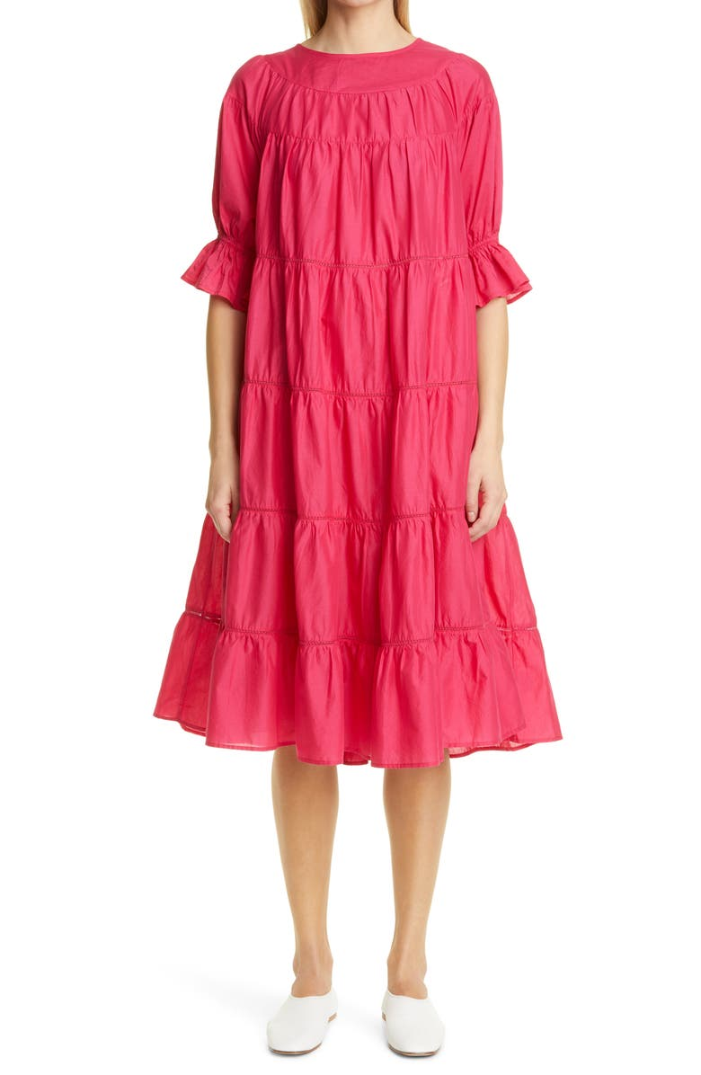 MERLETTE Paradis Tiered Puff Sleeve Cotton Dress, Main, color, SHOCKING PINK
