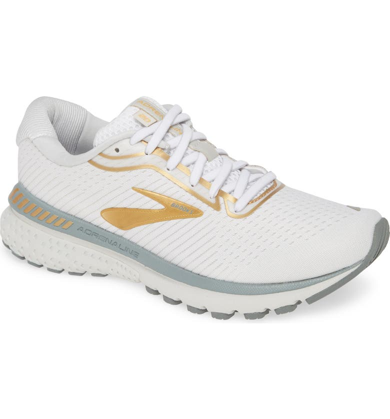 BROOKS Adrenaline GTS 20 Road Running Shoe, Main, color, WHITE/ GREY/ GOLD